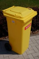 Mülltonne kaufen - gelbe Mülltonne 120 L, frost-, hitze- und korrosionsfest