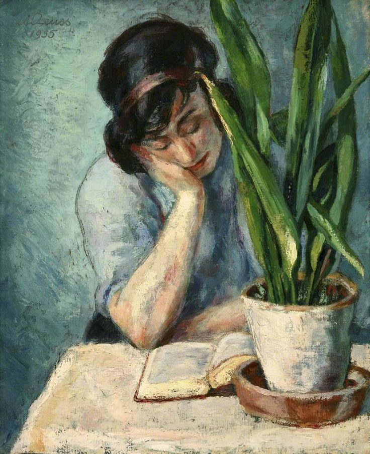 Albert Reuss: Woman Reading with Mother-in-Law's Tongue, 1935.