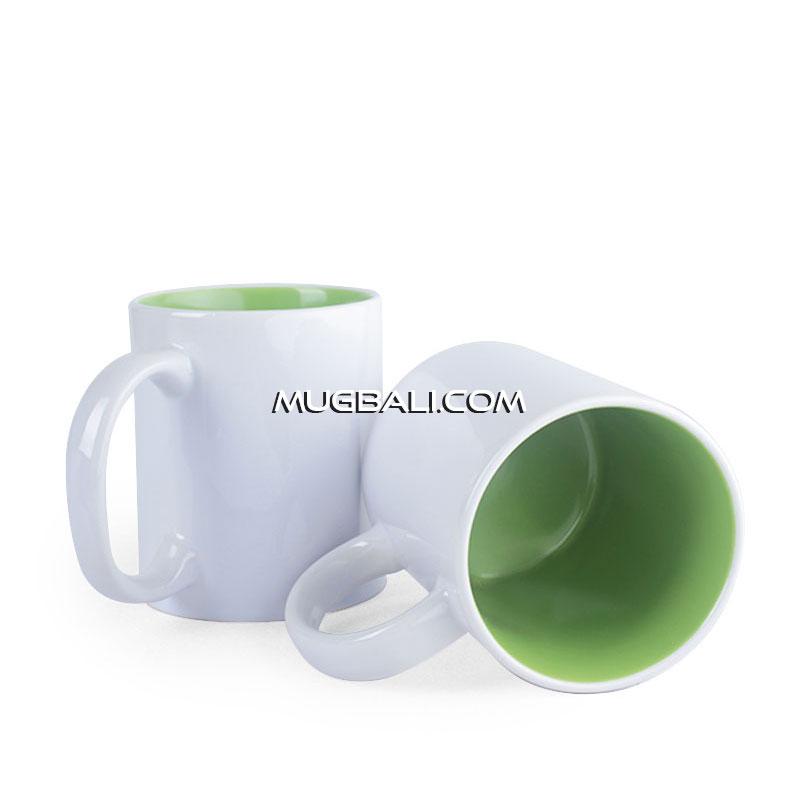 cetak mug promosi bahan keramik putih dalam Hijau Muda