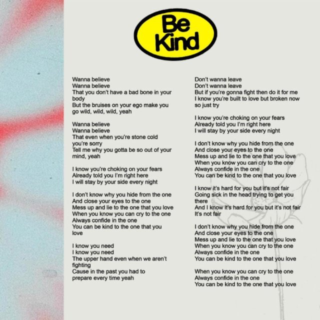 New Music: Halsey and Marshmello's heartfelt new single 'Be Kind'. Listen Here: - 9 MUGIBSON WRITES