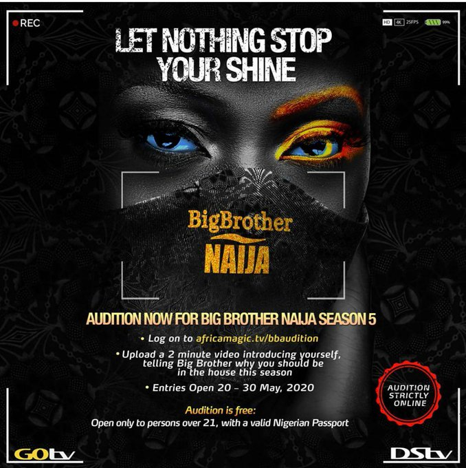 Big Brother Naija returns in season 5. Here's how to audition:- 2 MUGIBSON