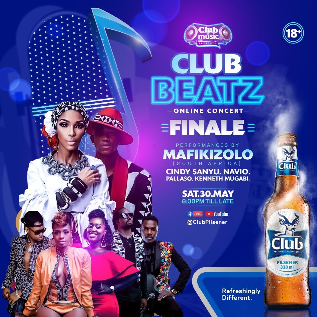 Cindy, Navio, Kenneth Mugabi, Pallaso and S. A's duo Mafikizolo lined for Club Beatz at Home FINALE. 1 MUGIBSON WRITES