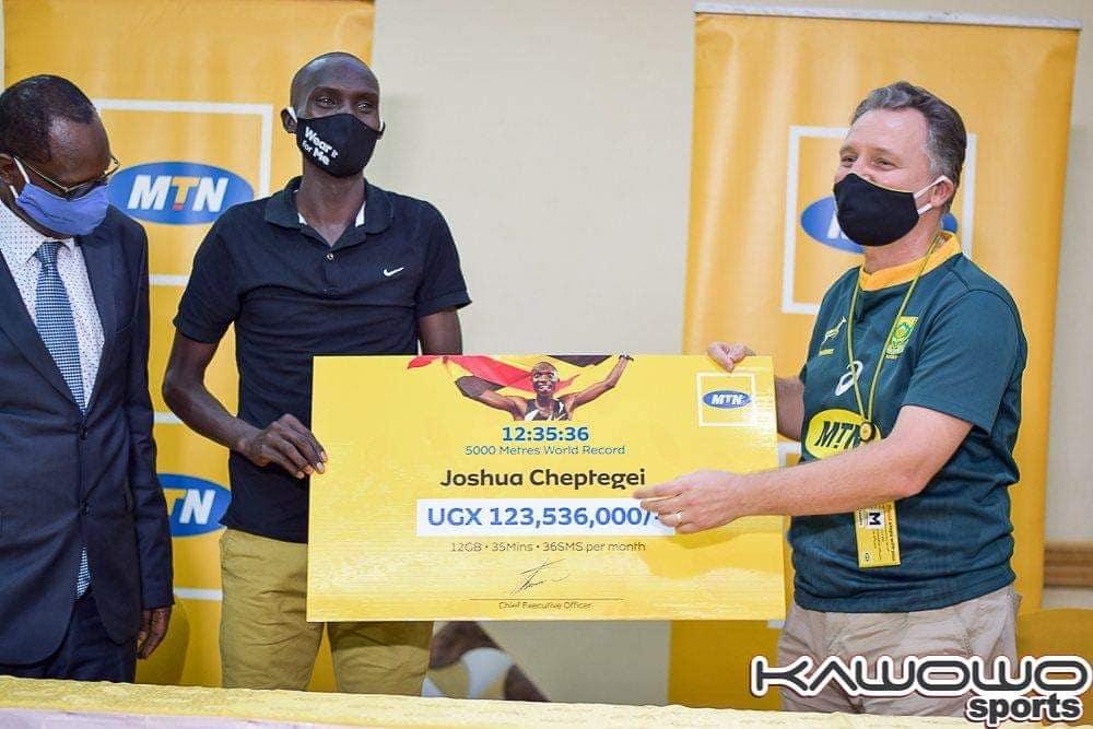 MTN hands out symbolic prizes to Joshua Cheptegei for new 5000M World Run Milestone 1 MUGIBSON WRITES
