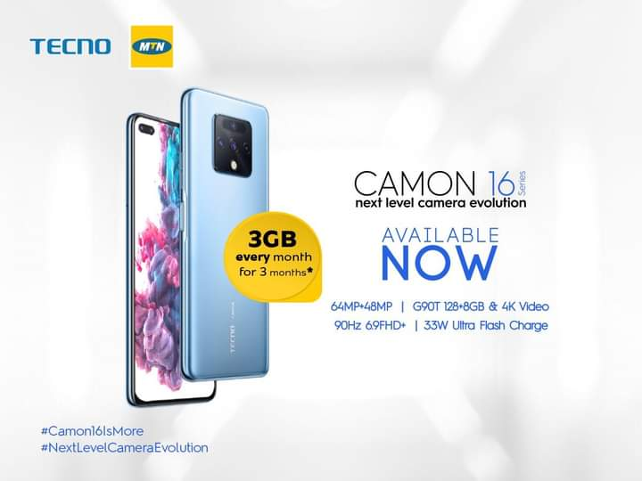 """TECNO Mobile arrives the Camon 16 series with 64MP quad camera, 6.9"""" display and free data from MTN Uganda 1 MUGIBSON WRITES"""