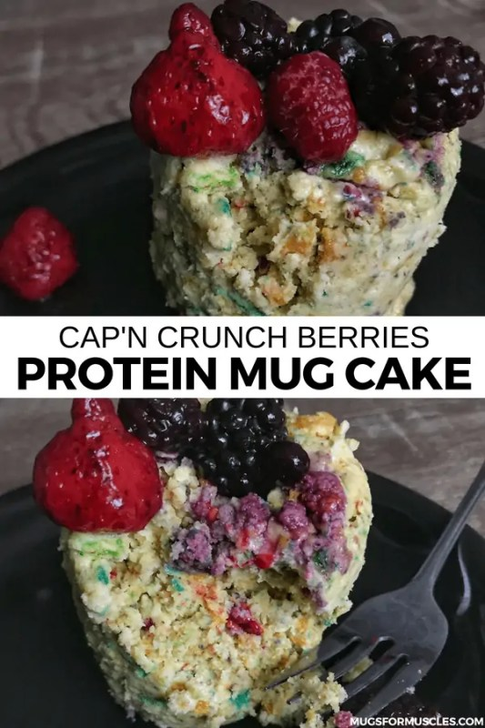 A quick and easy protein mug cake recipe that combines real Cap'n Crunch with whole berries and 27 grams of protein. Recipe includes optional low cal glaze.