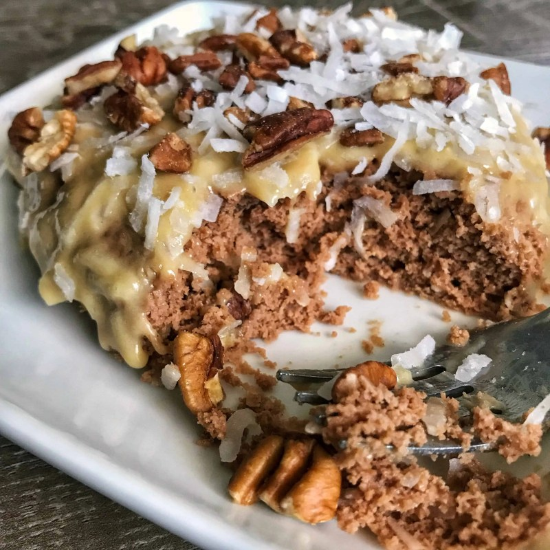 high protein german chocolate mug cake