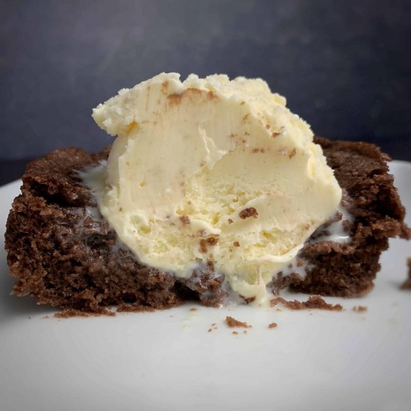 a look inside a chocolate protein mug cake