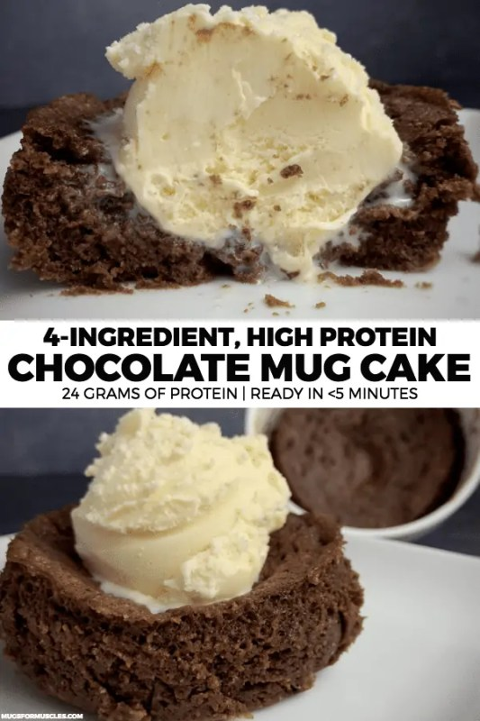A simple chocolate protein mug cake recipe made with Swerve Chocolate Cake Baking Mix. This mug cake has 24 grams of protein and only 24 grams of carbs.