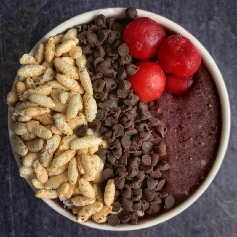 cherry garcia protein smoothie bowl