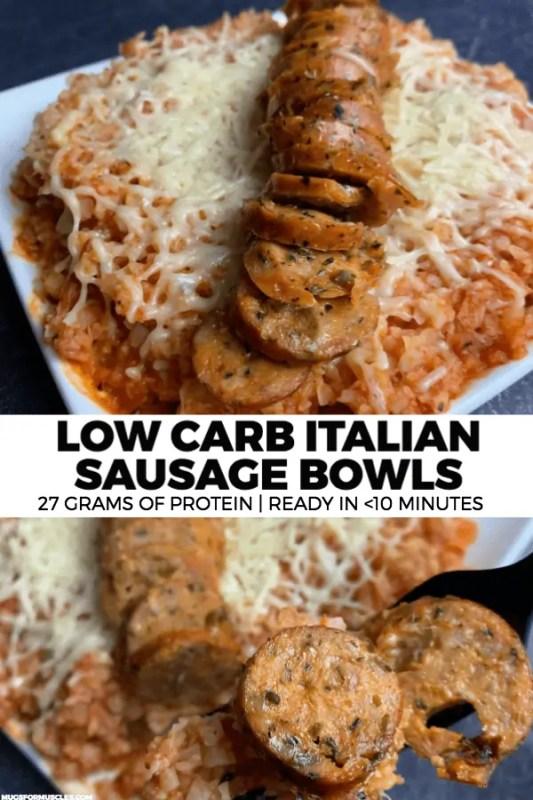 A microwavable recipe for low carb bowls with spicy marinara cauliflower rice topped with Italian chicken sausage and shredded parmesan.