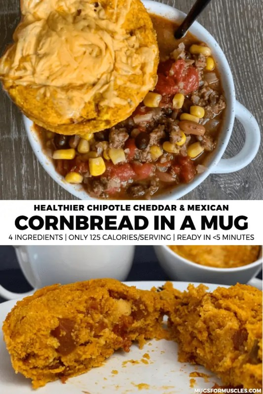 Upgrade your soup, chili, or side dish game with this lower calorie cornbread in a mug recipe which includes chipotle cheddar and Mexican style versions.