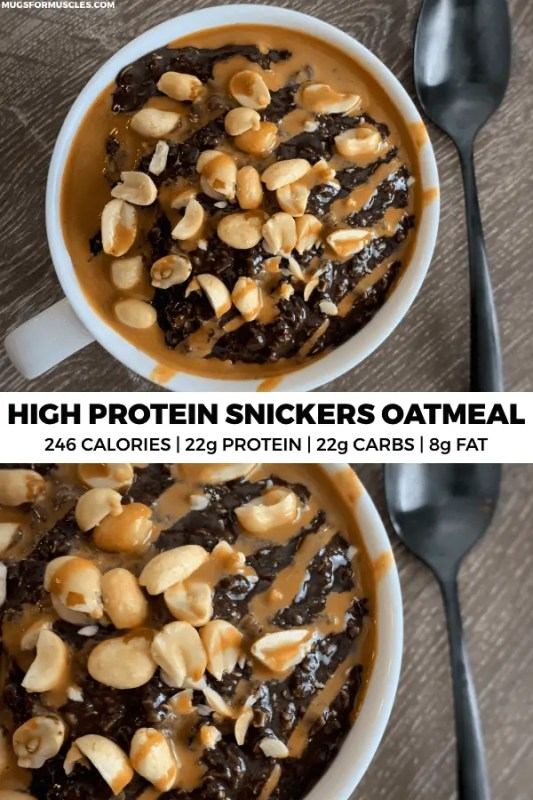 This copycat Snickers oatmeal recipe packs 22 grams of protein into a bowl of creamy oats with chocolate, peanuts, and caramel syrup.