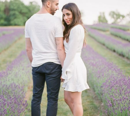 Romantic Engagement Session in a Lavender Field   Muguet Photography