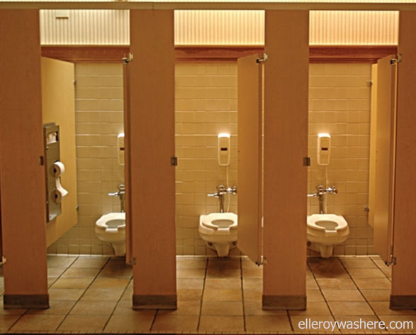 Take care as you use shared public washrooms