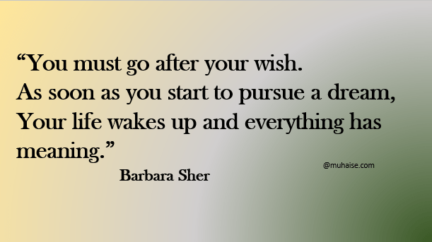 Go after your wish and pursue your dream