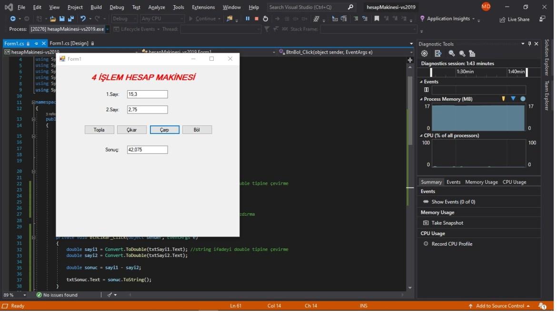 C# form hesap makinesi virgüllü sayı ekran görüntüsü