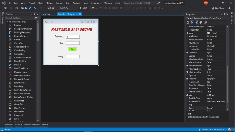 C# form rastgele sayı seçme uygulaması tasarımı
