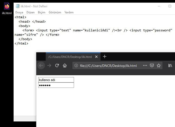 html form kullanıcı adı ve şifre örneği