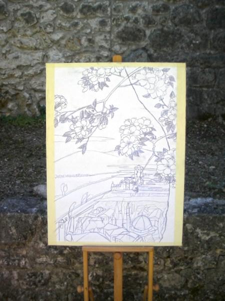 Hiroshige-e: Citadel and Počitelj on Neretva River -work in progress-