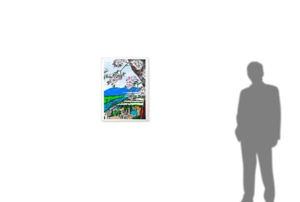 Hiroshige-e: Citadel and Počitelj on Neretva River -size reference-