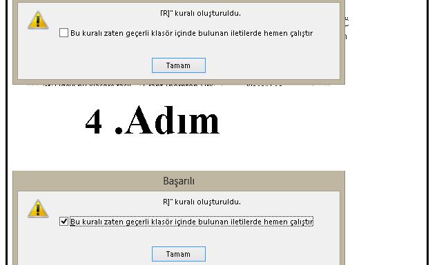 Outlook Kural oluşturma 4