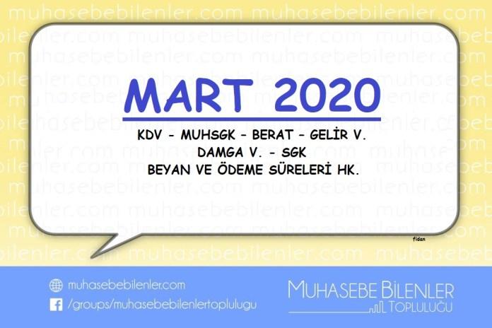 Mart 2020 Vergi Beyan ve Odeme Gunleri