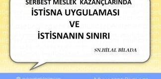 SERBEST MESLEK KAZANÇLARINDA İSTİSNA UYGULAMASI VE İSTİSNANIN SINIRI
