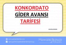 KONKORDATO GİDER AVANSI TARİFESİ