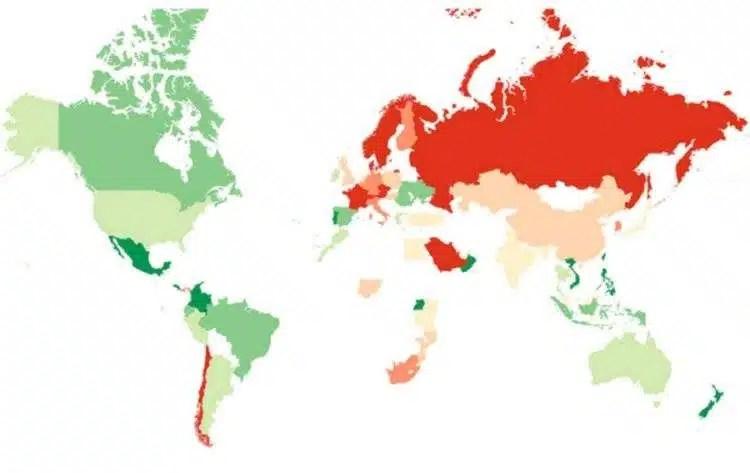 Mapa De Los Paises.Este Es El Mapa De Los Mejores Paises Para Hacer Amigos
