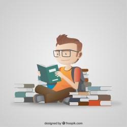 Ein Student liest Tipps und Tricks zum Studienstart