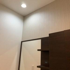 ダウンライトを洗面台の真上に設置すれば照明いらず。狭い空間を広くシンプルに