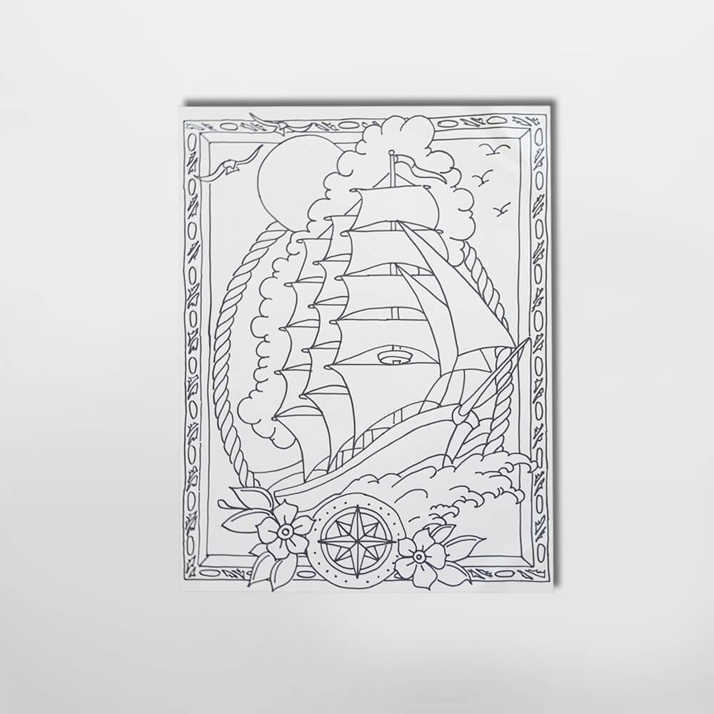 Illustratie schip kleurboek