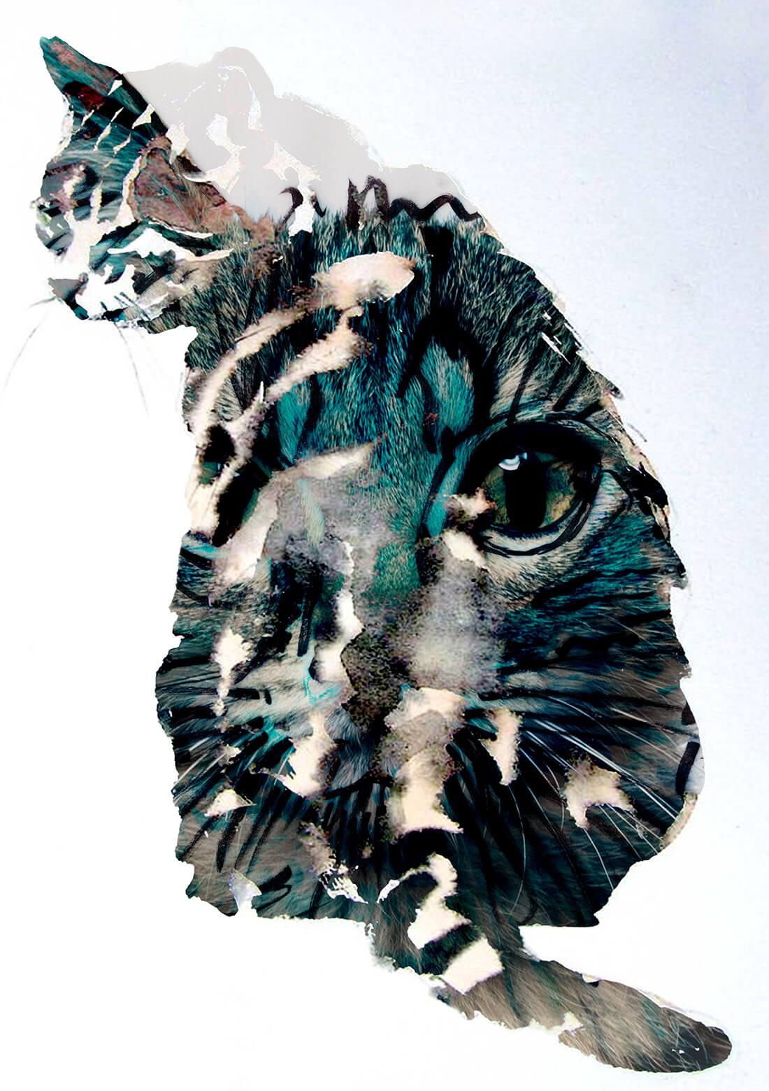 Par les yeux d'un chat - mixed media schilderij