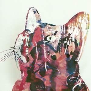Cat looking up - mixed media print