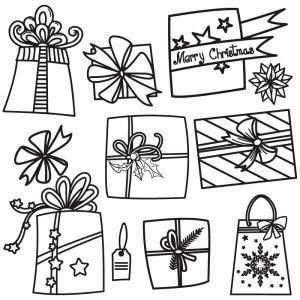 Raamtekening kadootjes voor Kerst of voor Sinterklaas