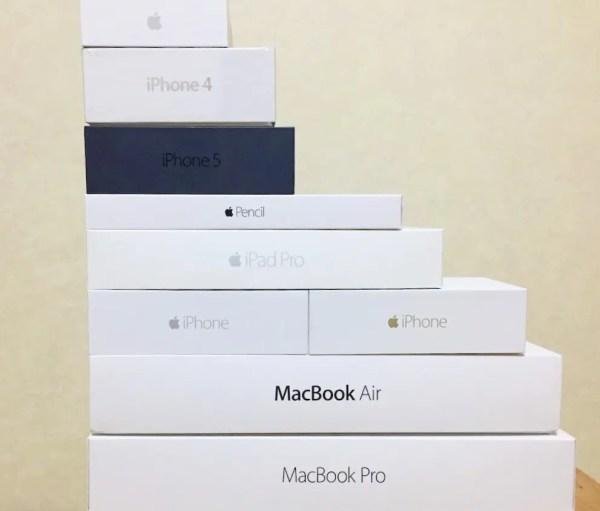 山のように積まれたApple製品の箱