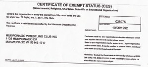 Certificate of Exempt Status