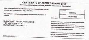 Certificate of Exempt Status