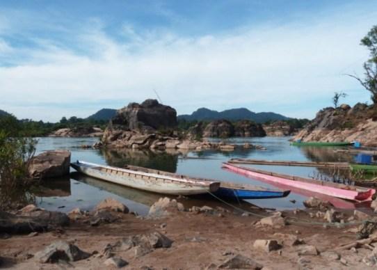 Laos, Don Det, départ pour l'observation des dauphins de l'Irrawaddy
