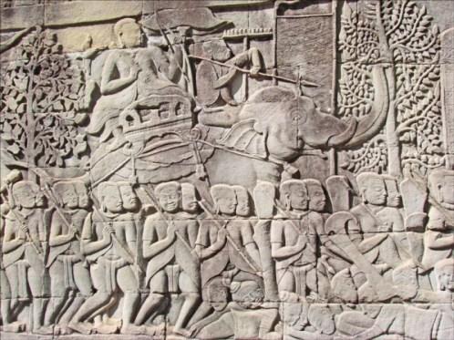 Bayon - Angkor - basreliefs - Copyright Jean-Pierre Dalbéra