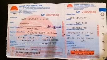 billet de transport pour le ferry