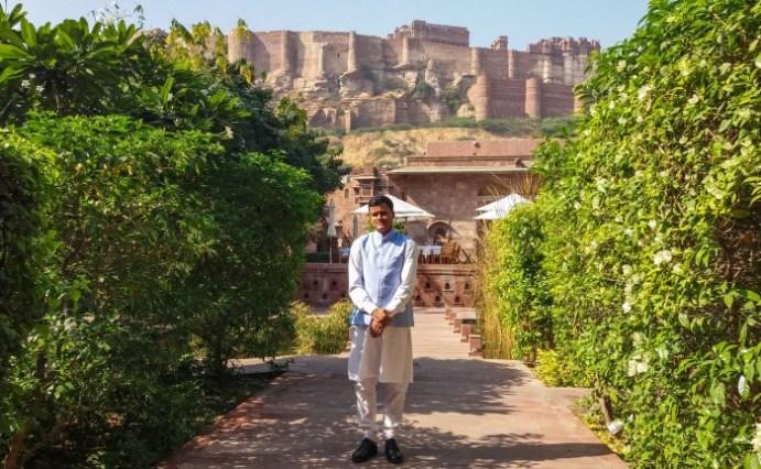 Jodhpur Inde,hôtel RASS devant le fort de Merhangarh, l'un des plus imposants de la région.