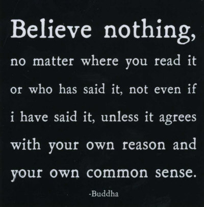 buddha believe nothing unless it agrees with our own reason
