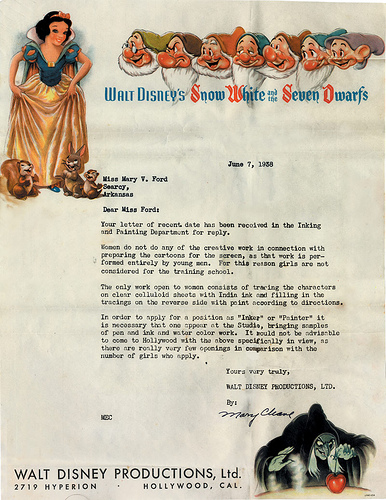 sexist disney refection letter