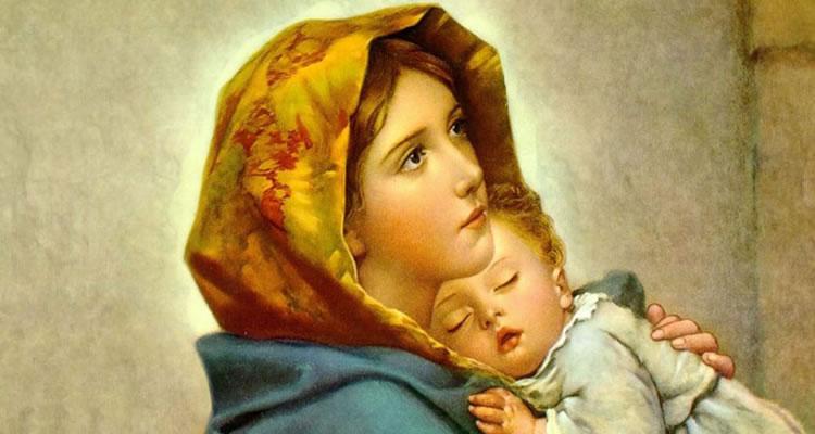 Maria com o menino Jesus.