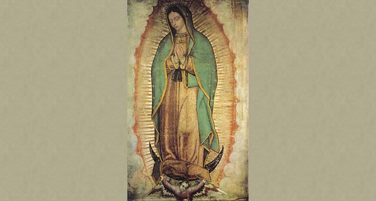 Imagem de Nossa Senhora de Guadalupe estampada na tilma de Juan Diego.