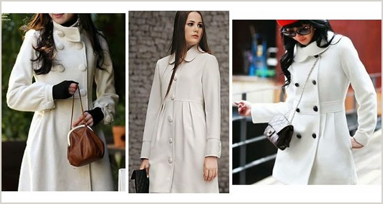 Foto: Reprodução. Casacos de lã em tons claros (pode ser nas cores branca e creme).
