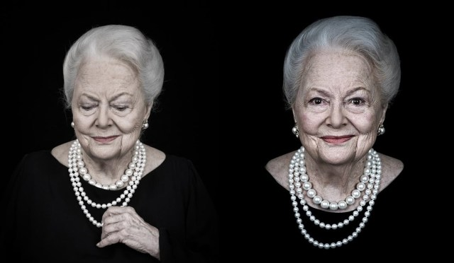 "Olivia de Havilland em 2015, em fotos tiradas de Andy Gotts para a ""Entertainment Weekly"""