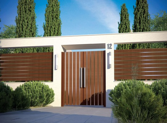 woodlike aluminum entry gate