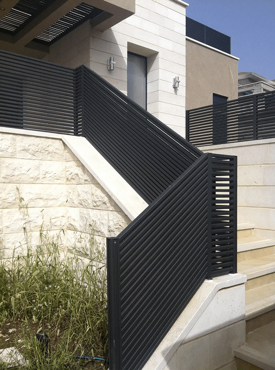 Black aluminum stair railing